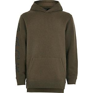 Boys khaki green sleeve print hoodie