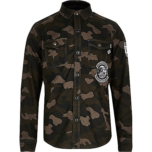 Boys khaki camo shirt with badges