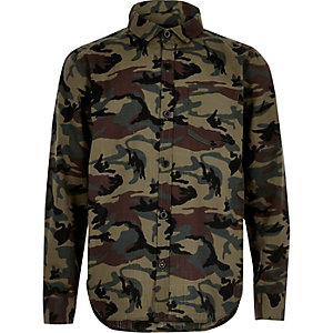 Boys khaki green camo shirt