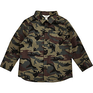Mini boys khaki green camo shirt