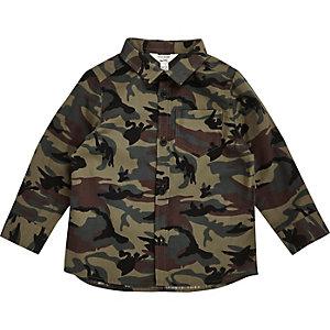 Chemise vert kaki camouflage pour mini garçon
