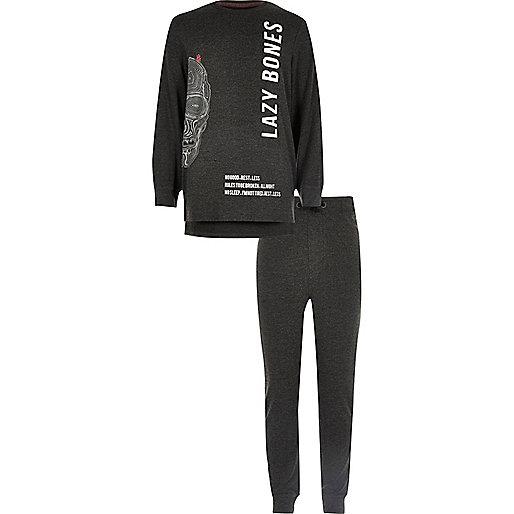 Ensemble de pyjama imprimé lazy bones gris pour garçon