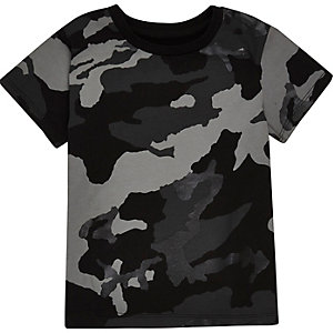 Mini boys black metallic camo T-shirt