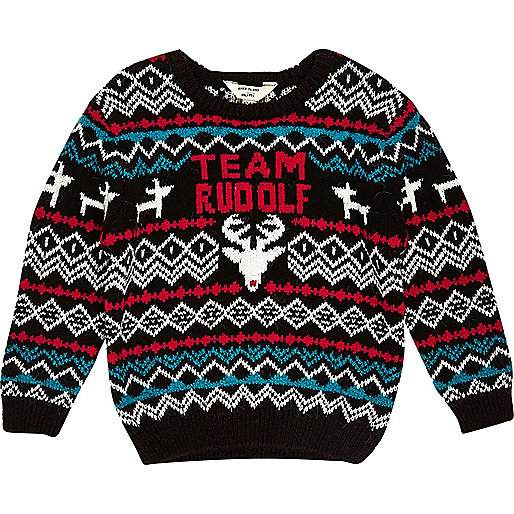 Mini boys black Rudolf Christmas sweater