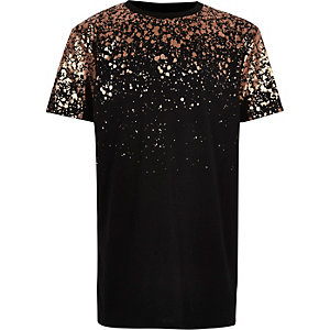 Boys black metallic print T-shirt