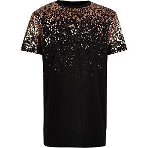 Boys black metallic print T-shirt