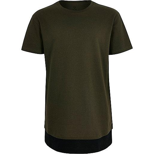 Boys khaki green contrast hem T-shirt