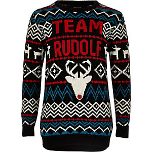 Boys black Rudolph Christmas jumper