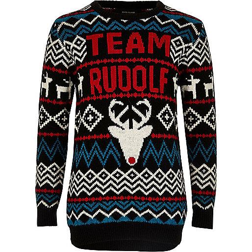 """Schwarzer """"Rudolph""""-Weihnachtspullover"""