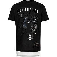 Boys black print layered T-shirt