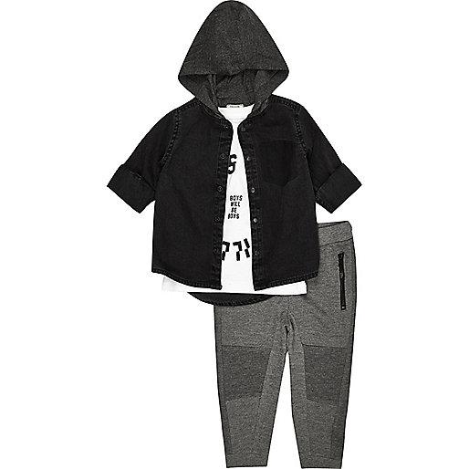 Mini boys black hoodie shirt joggers set