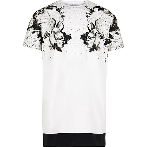 Boys white skull shoulder print T-shirt