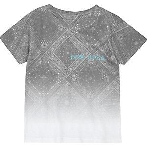 T-shirt blanc imprimé cachemire dégradé mini garçon