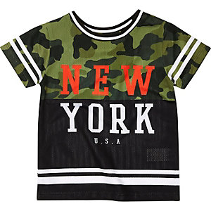 Mini boys black camo NYC T-shirt