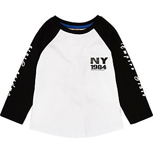 Mini boys white NY print long sleeve T-shirt