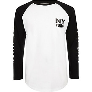 Boys white NY print long sleeve T-shirt