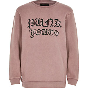 Boys pink washed print sweatshirt