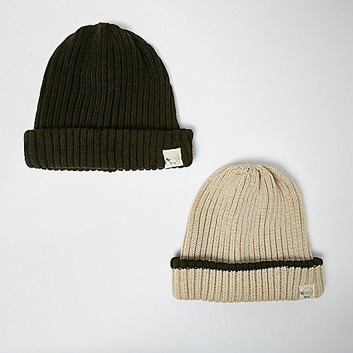 Mini boys khaki and oatmeal beanie pack