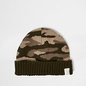 Mini boys khaki camo knit beanie