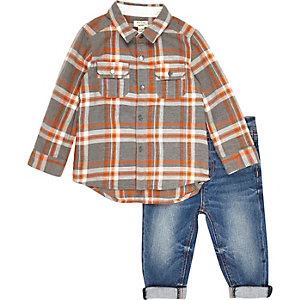 Mini boys melange check shirt outfit