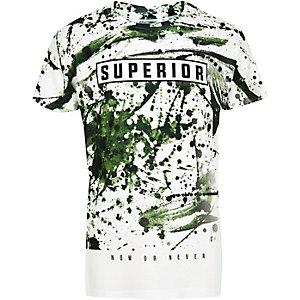 T-shirt blanc à imprimé « superior » motif camouflage