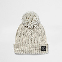 Boys cream cable knit bobble hat