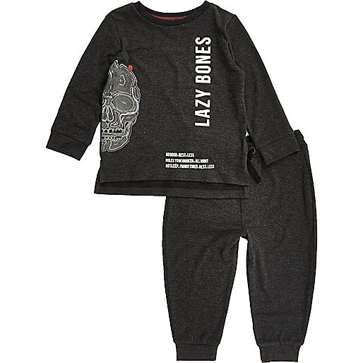 Mini boys grey lazy bones print pajama set