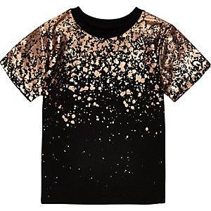 Mini boys black metallic print T-shirt