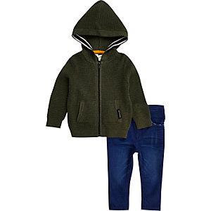 Mini boys green waffle hoodie jeans set