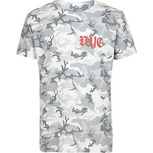 T-shirt imprimé camouflage gothique vert kaki pour garçon