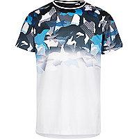 Boys blue mesh faded camo T-shirt