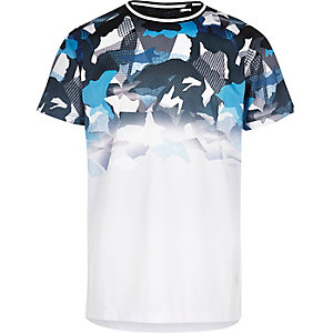 Boys blue mesh faded camo T-shirt