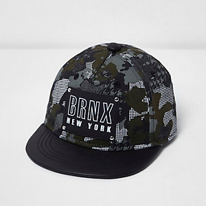 Mini boys black camo dogtooth cap