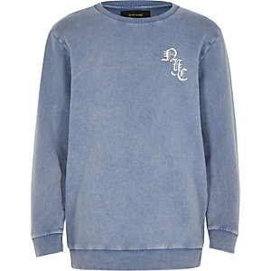 Boys blue washed logo sweatshirt