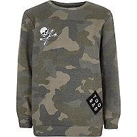 Boys khaki camo badge sweatshirt