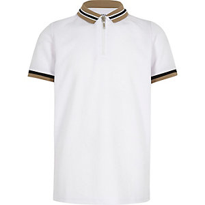Boys white tipped zip polo shirt