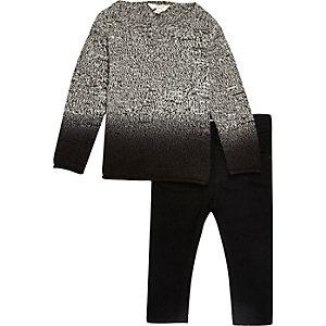 Mini boys grey dip dye knit jumper jeans set