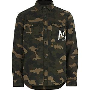 Hemd in Khaki mit Camouflage-Muster