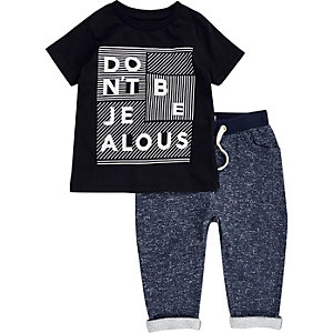 Mini boys black T-shirt and joggers set