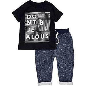 Ensemble pantalon de jogging et t-shirt noir pour mini garçon
