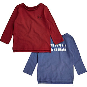 Mini boys red and blue top pack