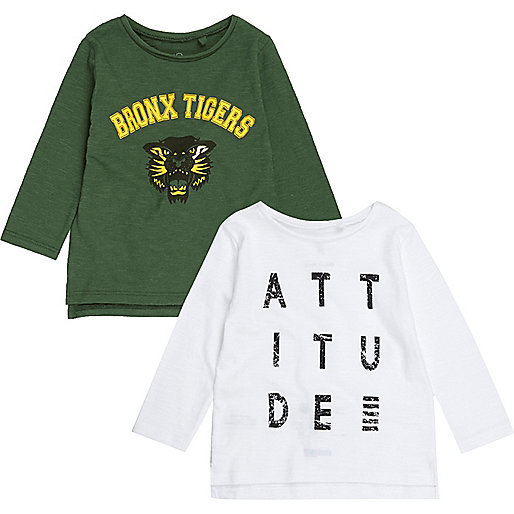 Mini boys white and green print top pack