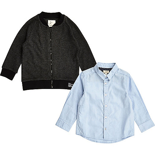 Mini boys grey bomber and Oxford shirt set