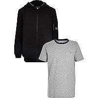 Ensemble t-shirt gris et sweat à capuche noir pour garçon