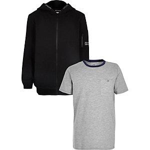 Boys black hoodie and grey T-shirt set