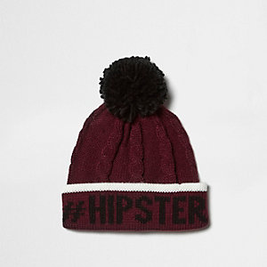 Boys burgundy cable knit print bobble hat