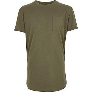 Boys khaki green basic T-shirt