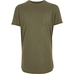 Boys khaki green basic T-shirt