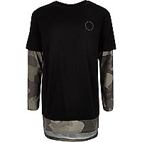 Boys black camo layered T-shirt