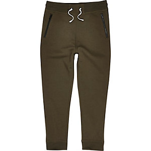 Boys khaki green zip joggers